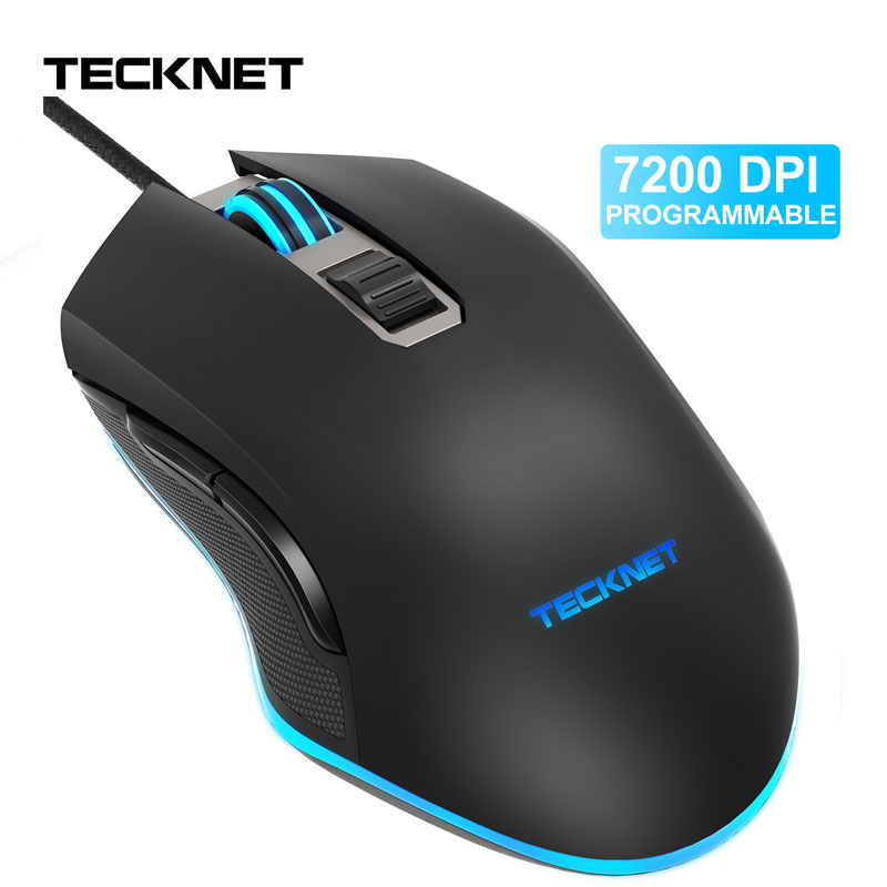 TeckNet <font><b>7200DPI</b></font> Programmable Mouse RGB LED Light Wired Gamer Mouses for PC Laptop 6 Buttons Optical Gaming Mice for Computer image