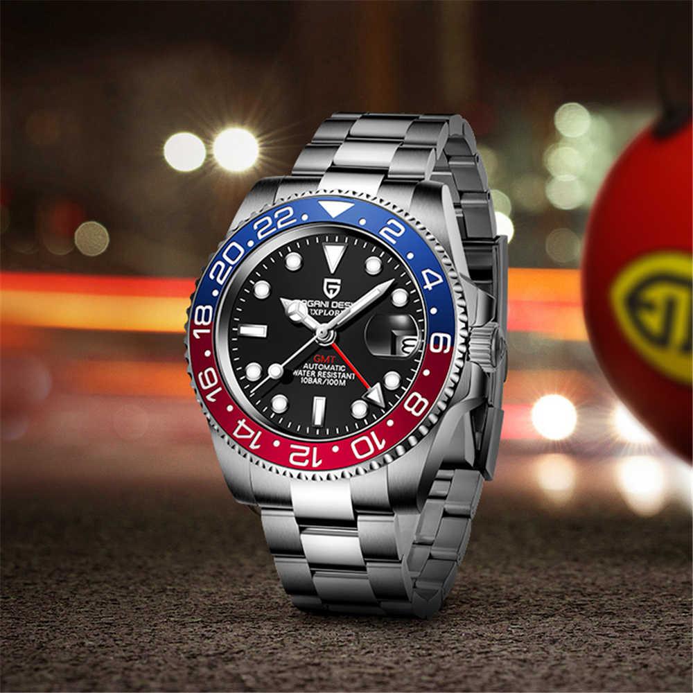 パガーニデザインサファイアガラス 40 ミリメートルセラミックgmt機械式時計 100 メートル防水古典的なファッションの高級腕時計自動