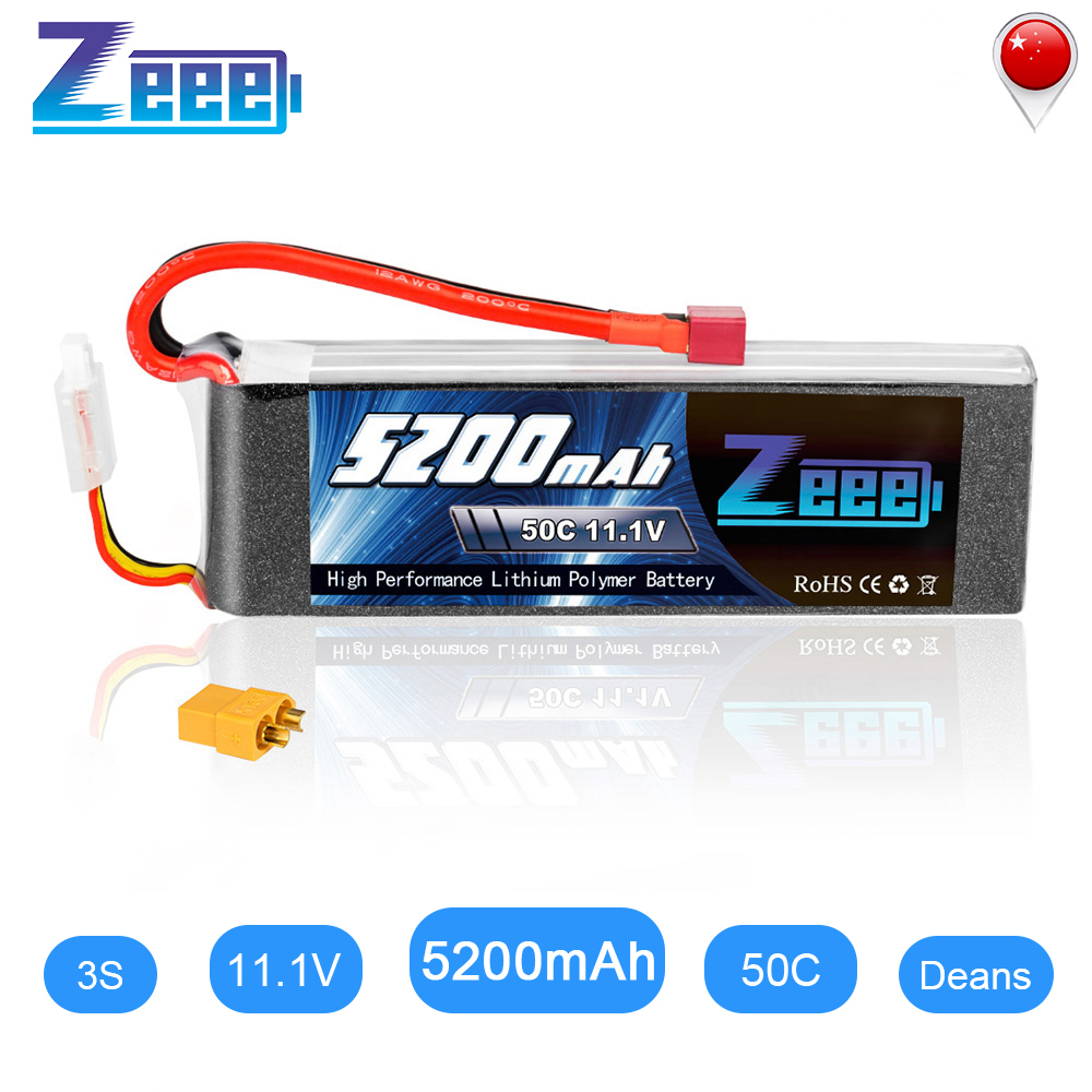 Zeee 3S RC LiPo Battery 11.1V 5200mAh 50C Deans Plug With XT60 Connector For RC Car Helicopter Quadcopter Boat RC Airplane