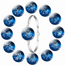 12 Zodiac Sign Bangle Leo Taurus Constellation Glass Cabochon Jewelry Silver Bracelet Chain Women Birthday Gifts Dropshipping