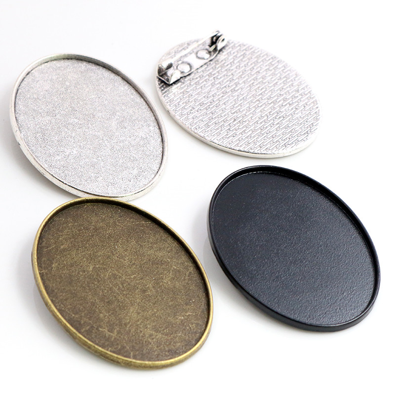 New Fashion  5pcs 30x40mm Inner Size Antique Silver/Bronze/Black Pin Brooch Simple Style Base Setting Pendant