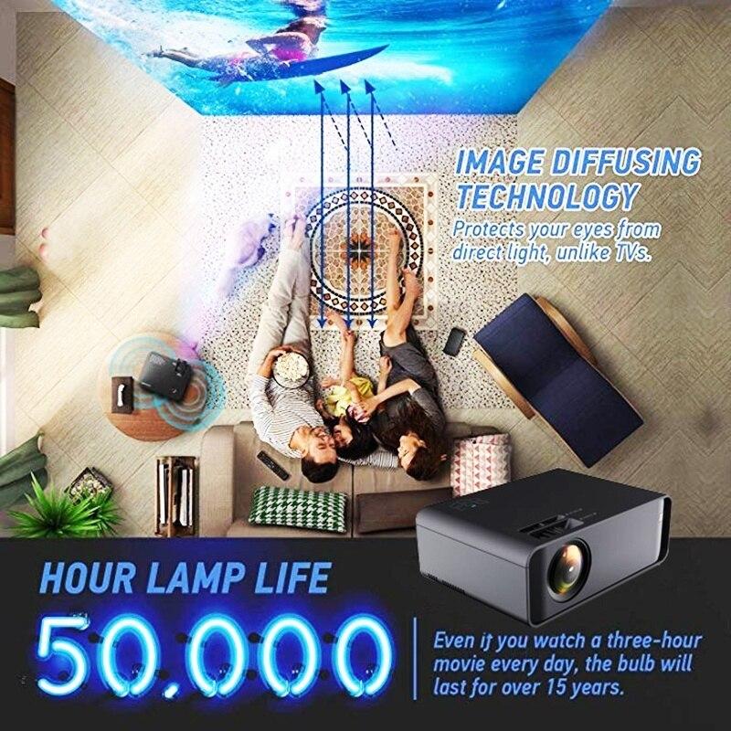 Unic w80 led completo hd 1080 p 3000lm projetor 4 k wifi hdmi usb bluetooth lcd de cinema em casa media player android beamer telefone sincronização - 2