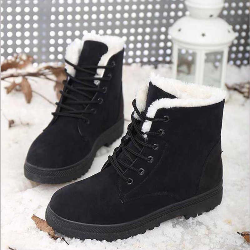 Botas de Mujer de talla grande 44 Botas de nieve para Mujer zapatos de invierno tacones Botas de invierno Botines Mujer calientes de felpa plantilla Zapatos Mujer