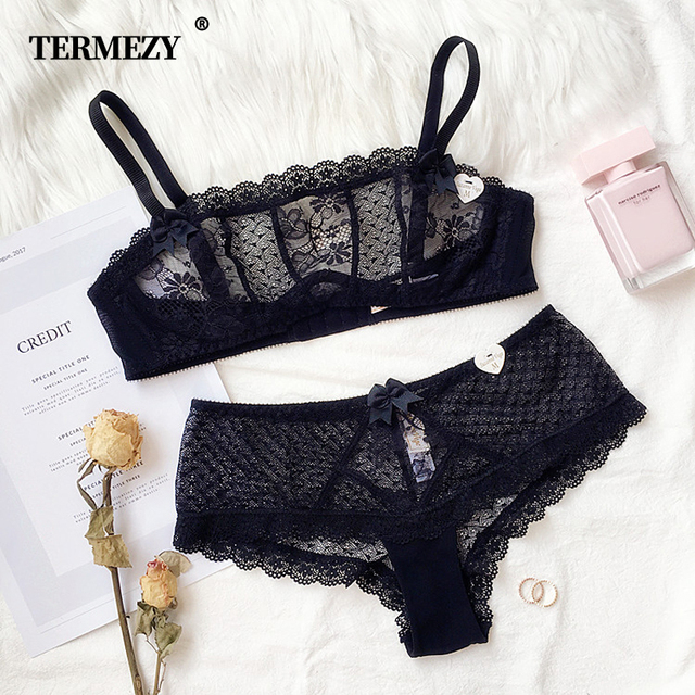 TERMEZY 2019 Sexy Lace Large Cup Bras for Women Push Up Bra set Wrapped Chest Lace Underwear for Females Weave lingerie 1