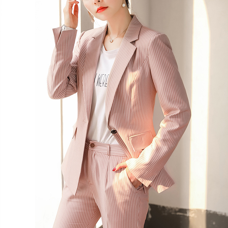 Women's suit high quality 2019 new temperament slim striped pink suit two-piece Casual pants suit Professional office suits