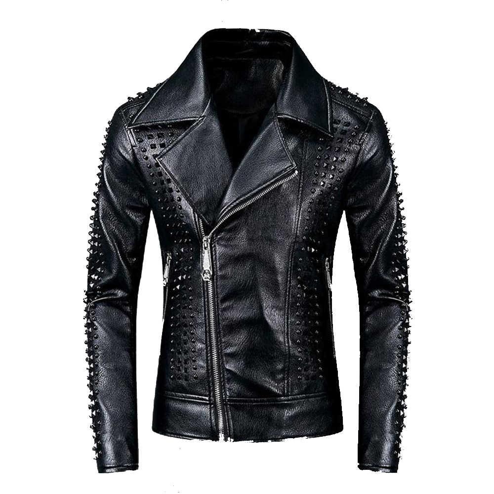 Men Punk Slim Leather Jacket Biker Motorcycle Jacket Bomber Outwear Coat Retro /_