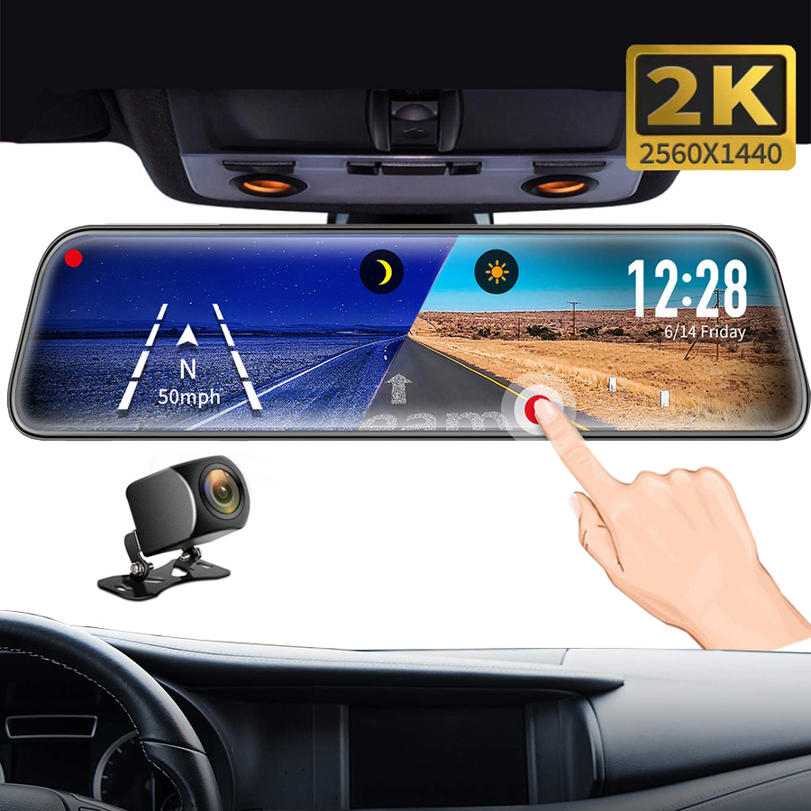 Dvr Dash Camera 2K Car Dvr mirror FHD 1440P Super Night Vision 10 Inch Dual Lens Car Rearview Mirror Auto Recorder DVRs title=