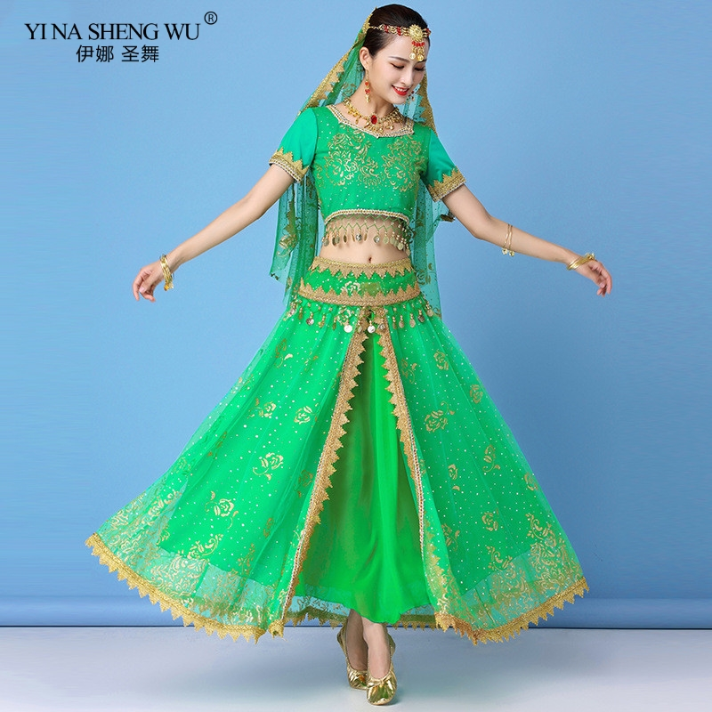 New Indian <font><b>Bollywood</b></font> Belly Dance Costumes Set Dance Sari <font><b>Bollywood</b></font> Belly Dance Stage Performance Chiffon <font><b>Top</b></font> Waist Chain Skirt image