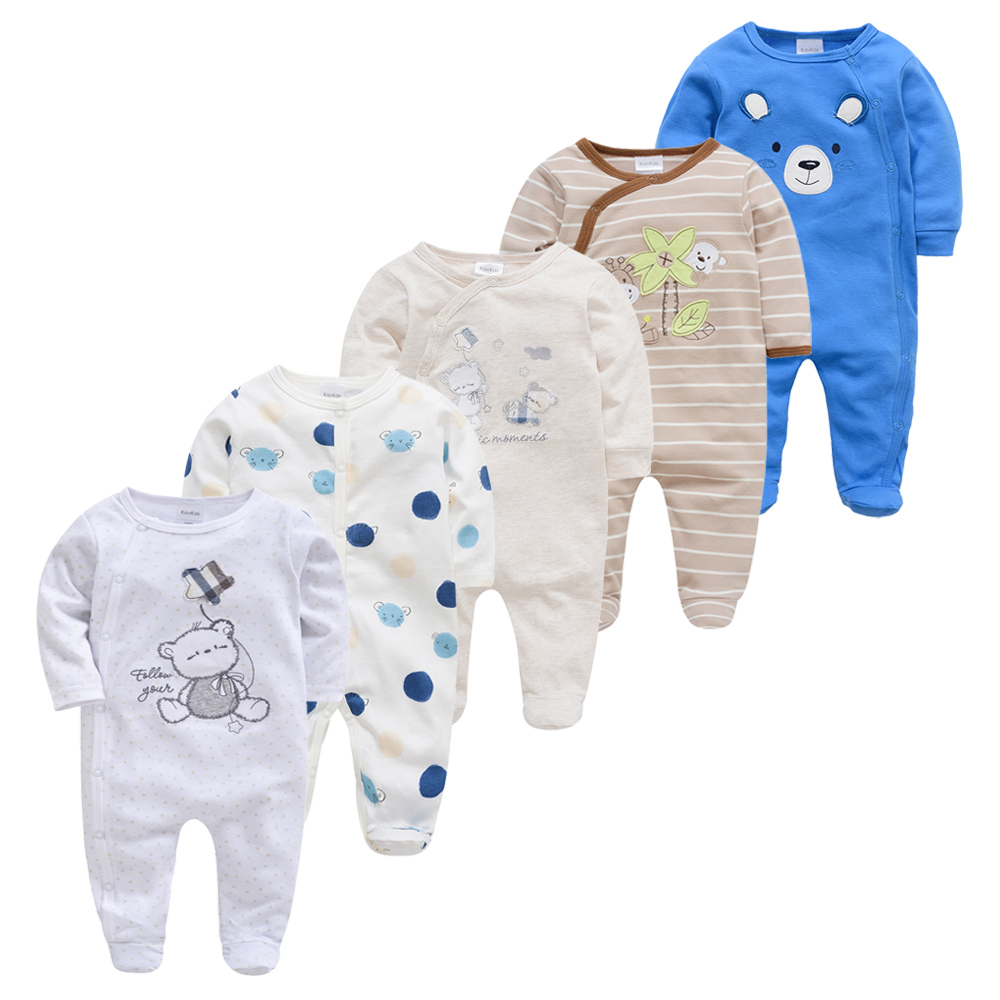 Newborn Girl Boy Pijamas5pcs Sleepers Baby Pyjamas Bebe Fille Cotton Breathable Baby Pjiamas