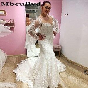 Mbcullyd Прозрачные Свадебные платья Русалочки с глубоким декольте 2020 изящное кружевное свадебное платье с расклешенными рукавами для женщин ...