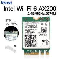 Inalámbrica de banda Dual M.2 Wifi6 Intel AX200 2974Mbps Bluetooth 5,1 802.11ax MU-MIMO NGFF portátil tarjeta WiFi Wlan AX200NGW Windows 10