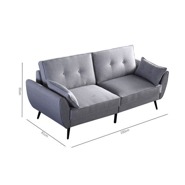 Linen Fabric Sofa Simple and Stylish Solid Wood Frame 3 Seat High Resilience Sponge Gray Indoor Furniture[US-Stock] 2