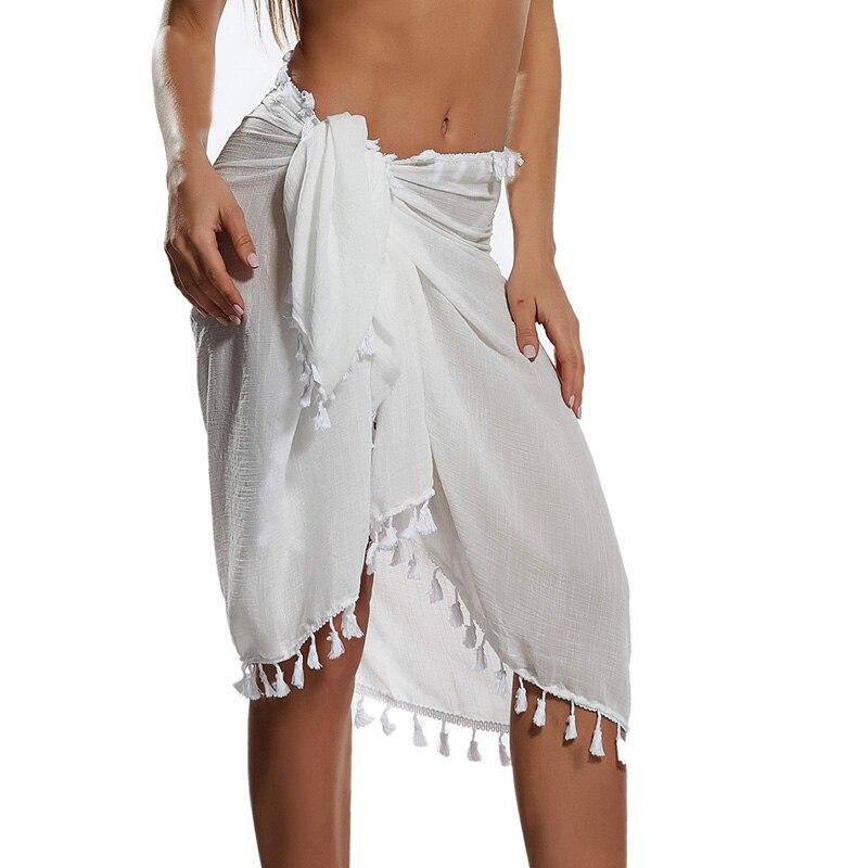 Beach Sarong Pareo Womens Semi-Sheer Swimwear Cover Ups Short Skirt with Tassels 3