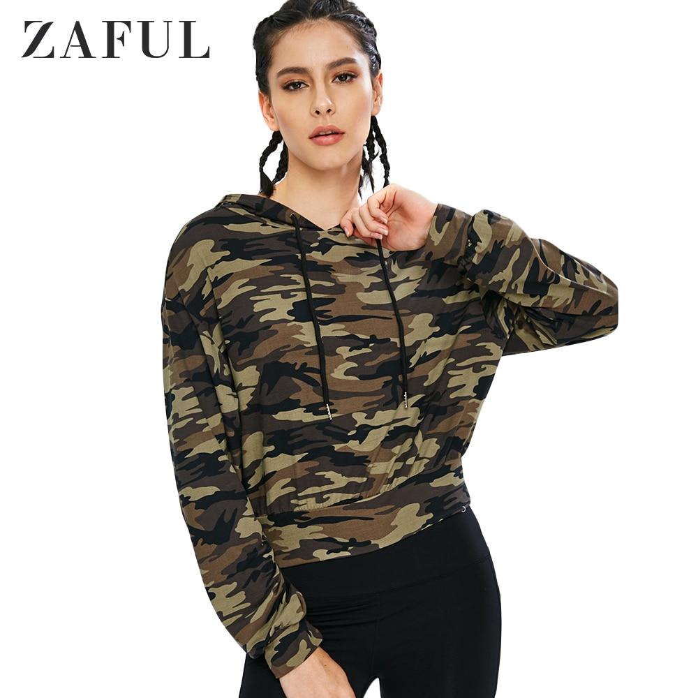 ZAFUL Drawstring Camo Sport Hoodie Women Pullovers Long Sleeve Sweatshirts Cool Camouflage Hoodies Autumn 2019