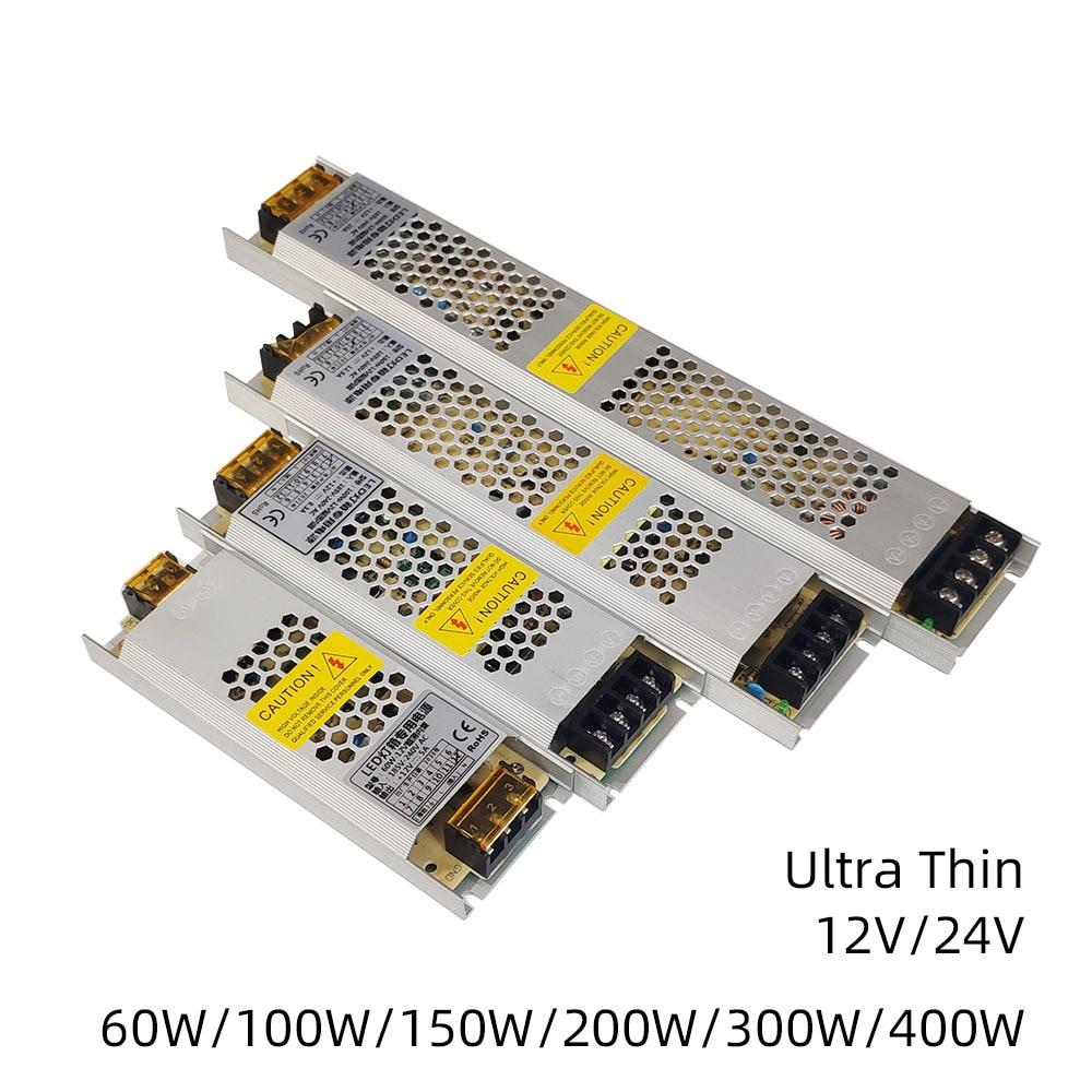Ultra Dünne LED Netzteil DC 12V 24V Beleuchtung Transformatoren 60W 100W 150W 200W 300W 400W AC190-240V Fahrer Für Led-streifen CCTV