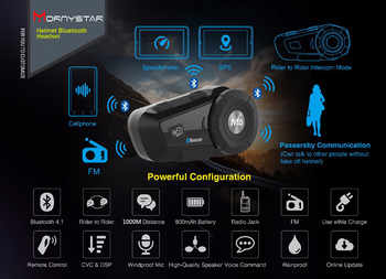 M6 Plus Waterproof Motorcycle Moto Wireless Bluetooth Helmet Intercom Interphone Headset with FM Radio Helmet Headset for Rider