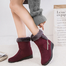 Women Casual Winter Boots 2019 Platform Wedges Snow Boots Non-slip Boots Mid-Calf Boots Zip Warm Shoes Fur Booties Botas Mujer