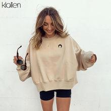 KLALIEN-Sudadera informal holgada Lisa para mujer, sudadera de algodón sencilla a la moda, jerséis salvajes suaves, 2020