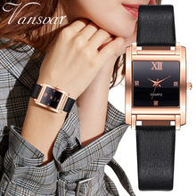 Top Brand Women Bracelet Square Watch Contracted Leather Crystal Wristwatches Women Dress Ladies Quartz Clock relogio feminino(China)