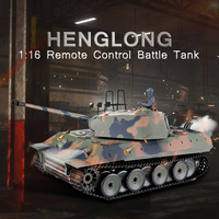 Henglong 1:16 Remote Control Main Battle Tank obstacle avoidance RC Trucks Toy Gift with Sound and LED Light Effects