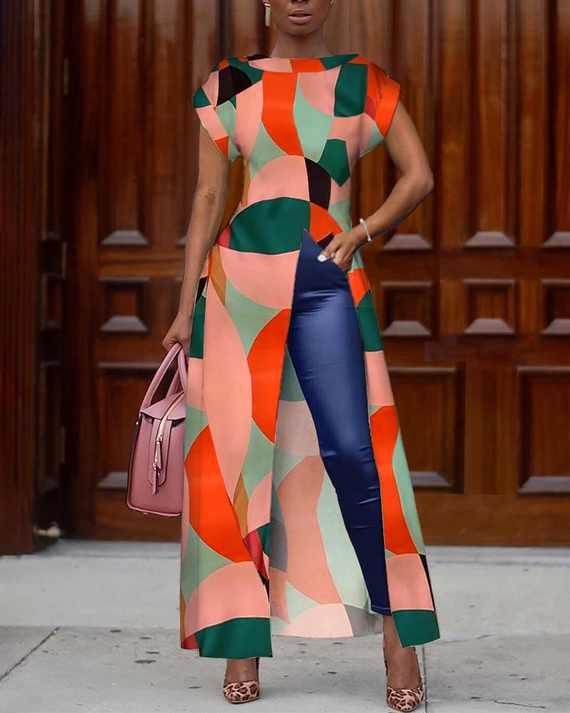 2019 Autumn Women Elegant Vintage Boho Long Shirt Female Asymmetrical Casual Top Colorblock Geo Print Slit Irregular Blouse