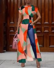 2019 Autumn Women Elegant Vintage Boho Long Shirt Female Asymmetrical Casual Top Colorblock Geo Print Slit Irregular Blouse geo print dress