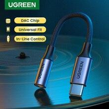 UGRREN USB 유형 C ~ 3.5mm 여성용 헤드폰 잭 어댑터 USB C ~ Aux 오디오 케이블 코드 DAC 칩 ForPixel 4 3 2 XL iPad Pro AUX