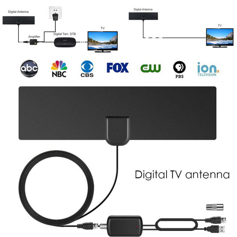 300 Mile HDTV DTMB Antenna Aerial HD Digital TV Signal Amplifier Booster Cable