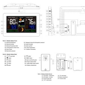 Image 5 - קיר שעון דיגיטלי תחנת מזג אוויר 3 חיישן אלחוטי מקורה חיצוני מדחום מדדי לחות ברומטר תחזית מודרני שעון 40 ℃