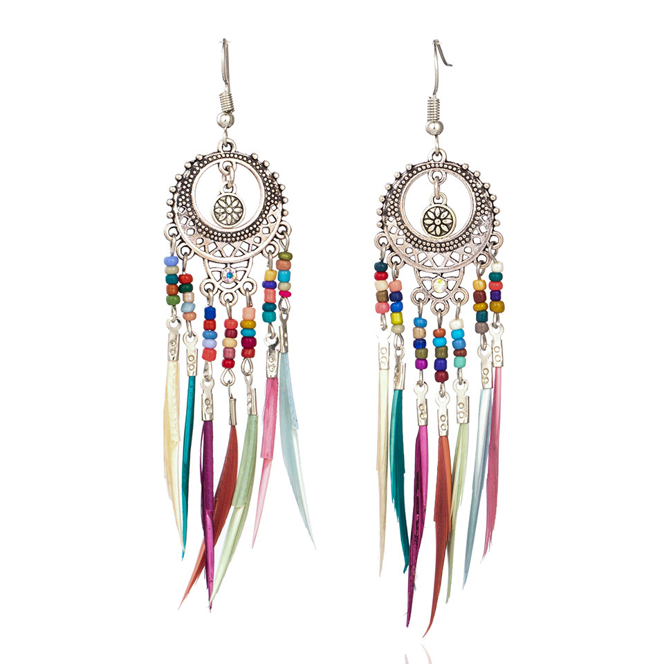 Golden Silver Color Vintage Ethnic Long Feather Dangle Drop Earrings For Women Female 2018 Wedding Jewelry Accessories