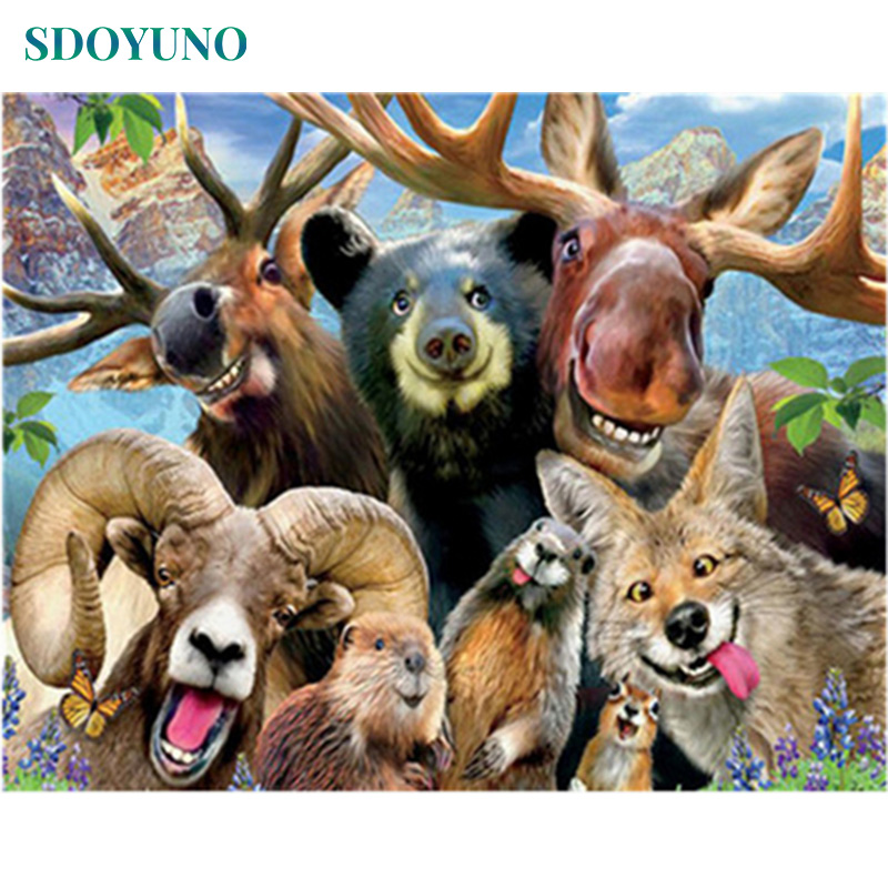 SDOYUNO Painting By Numbers Paint By Number Framless DIY Canvas Painting Kits Animals Wall Art  Digital Painting