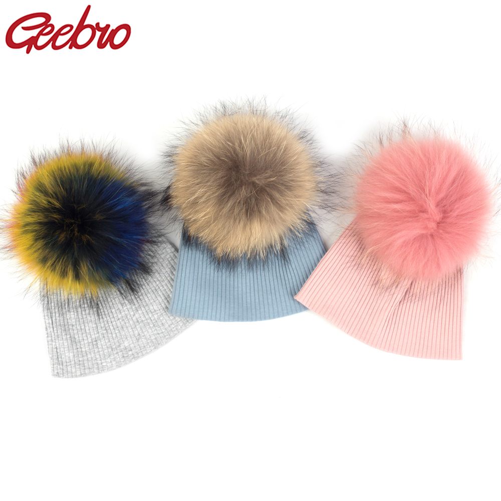 Geebro Newborn Baby Winter Solid Color Ribbed Beanies Hats With 15 Cm Real Fur Pompom New Girls Boys Kids Cute Cotton Skully Hat