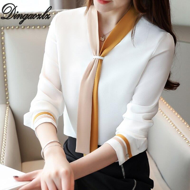 Dingaozlz 2019 Vintage Chiffon Shirt Elegant Ribbon OL Tops Contrast Color Long Sleeve Women Blouse Blusa Feminina