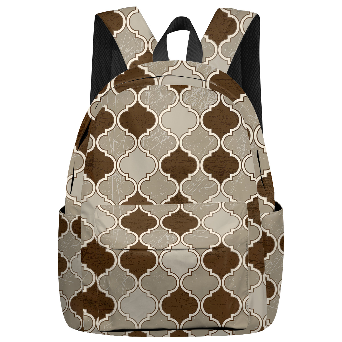 Moroccan Brown Pattern Laptop With Usb Charging Port Bottle Side Pockets School Book Bags Travel Backpack Hiking Daypacks Casual