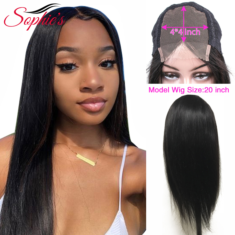 Sophie's Brazilian 4*4 Lace Closure Human Hair Wigs For Black Women Non-Remy Straight Lace Closure Wigs With Human Hair Wig