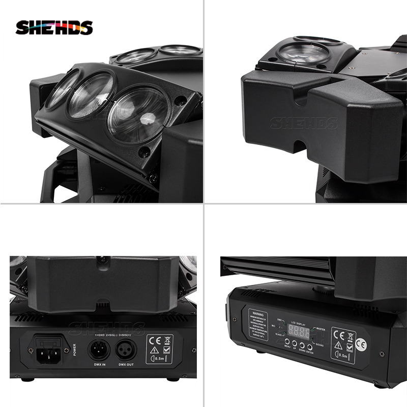 New Arrival MINI LED 9x10W LED Spider Light RGBW 16/48CH DMX Stage Lights Dj LED Spider Moving Head Beam Light 5