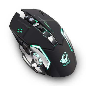 2020 X8 Wireless Gaming Mouse Rechargeable Silent LED Backlit USB Optical Ergonomic Gaming Mouse LOL Mice Surfing Gamer x8 super quiet wireless gaming mouse 2400dpi rechargeable computer mouse optical gaming gamer mouse for pc black drop shipping
