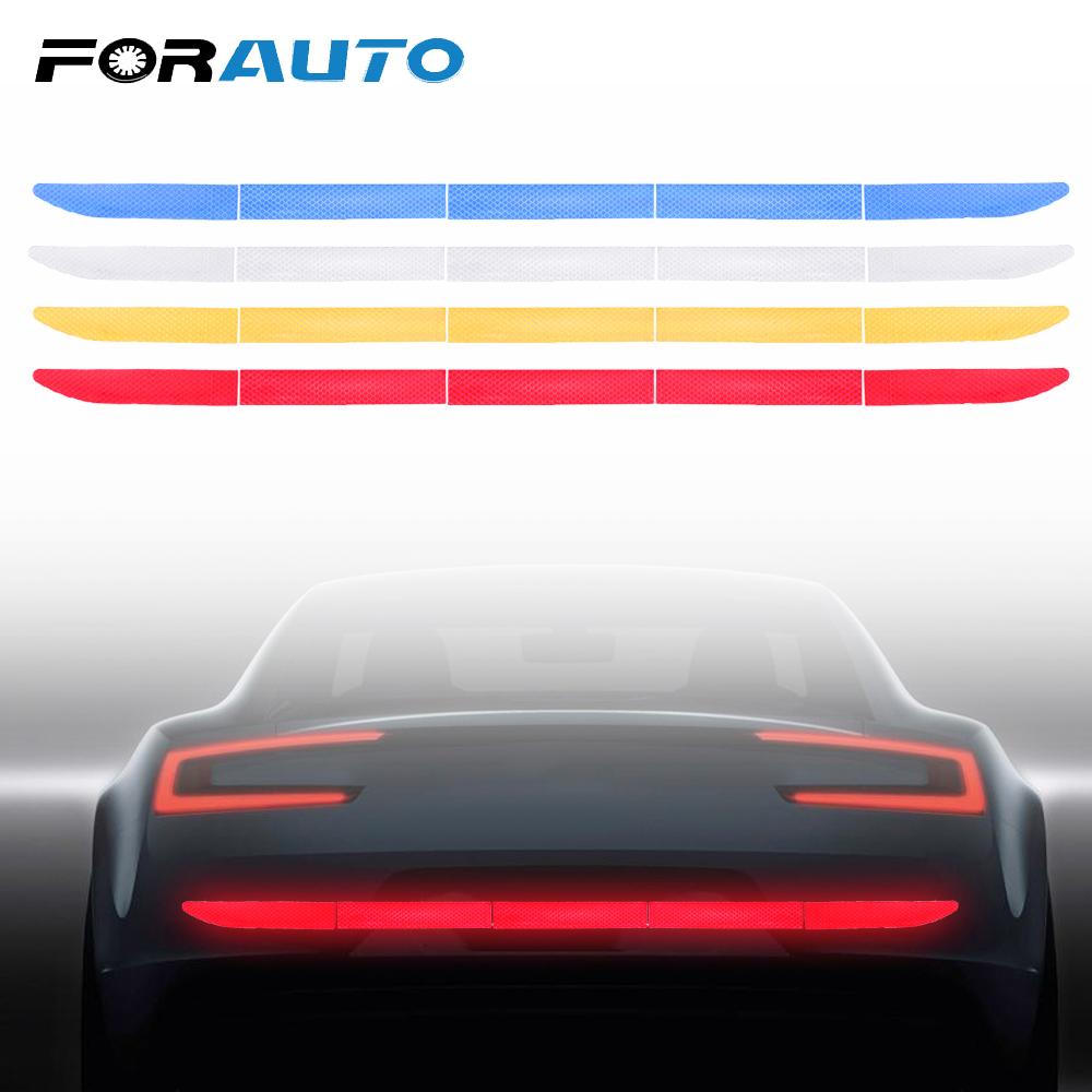 FORAUTO Car Reflective Sticker Auto Trunk Warning Sticker Strip Nano Tape For Driving Safety Anti-collision Car-styling 4 Colors