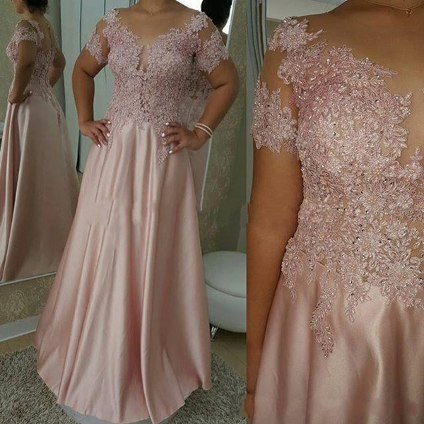 Elegant 2019 Mother Of The Bride Dresses A-line Short Sleeves Appliques Beaded Long Groom Mother Dresses For Weddings