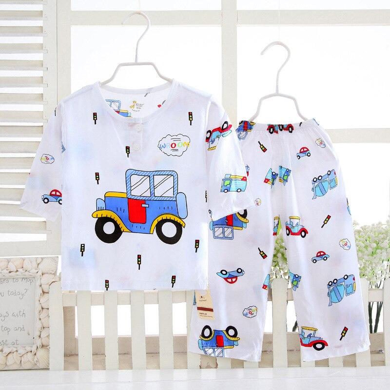 2019 Summer Kids Clothes Cotton Silk Underwear Set Children's Home Wear Pajamas Air Conditioning Clothing Boys Girls Clothing