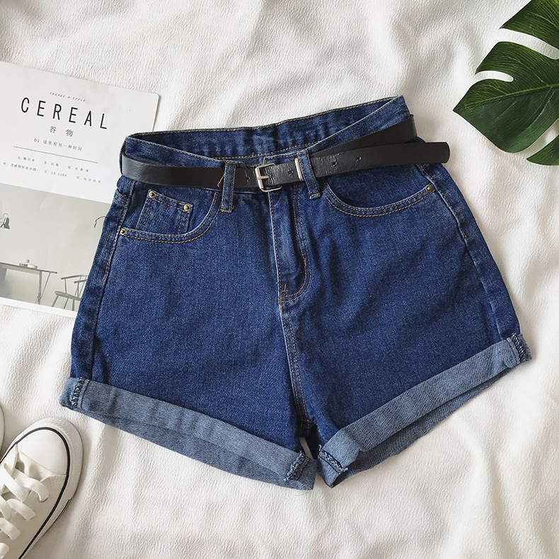 H58bf823eae7e47cab4e970cb2d08d690Z - Women Summer Shorts Fashion Free Belt High Waist Loose Casual Slim Denim Shorts Women Shorts Jeans mujer femme Korea Shorts