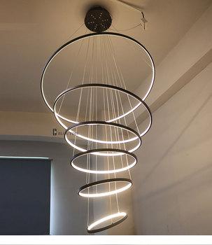 цена Modern Pendant Lights For Living Room Dining Room bedroom Circle Rings Acrylic Aluminum Body LED Ceiling Lamp pendant light онлайн в 2017 году