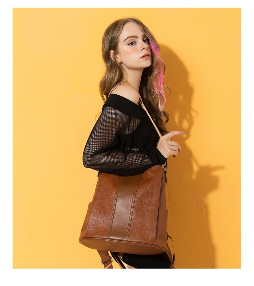 H58bfa36d9e0a40d9bc7ddb27a7b99e4cu HERALD FASHION Quality Leather Anti-thief Women Backpack Large Capacity Hair Ball School Bag for Teenager girls Male Travel Bags