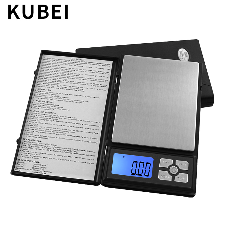 KUBEI 500g/0.01g Precision Gram Weight Scale Digital LCD Display Pocket Scales For Spices Jewelry Medicine