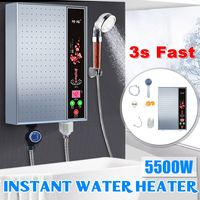 5500W 220V Electric Hot Water Heater Tankless Instant Boiler Bathroom Shower Set Thermostat Safe Intelligent Automatically Electric Water Heaters    -