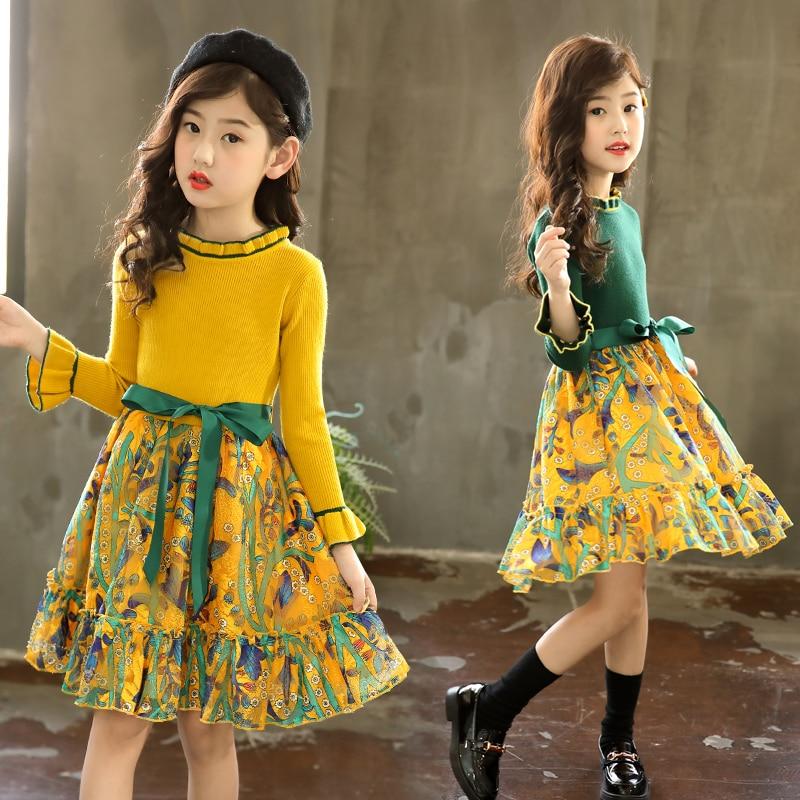 Robe en tricot à motif Floral pour filles | Tenue décontractée en Patchwork, vêtements dhiver pour enfants de 4-5-7-9-11-13 ans