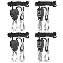 4pcs 1/8 Inch 8Feet Long Heavy Duty Adjustable Rope Clip Hanger for Grow Light Kit Hanging Ratchet Canoe Bow Stern Tie Down(China)