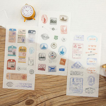 6 Pieces/set, Personalized Creative Retro Stamp Paper Stickers Student Stationery Decoration Diy Diary Scrapbook