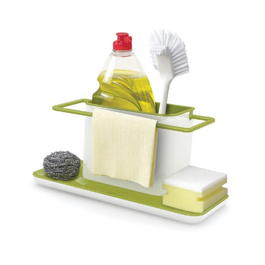 Creative Separated Plastic Shelves Multifunctional Kitchen Storage Organizer Finishing Shelf Bathroom Sponge Clean Accessories Storage Holders & Racks     - title=