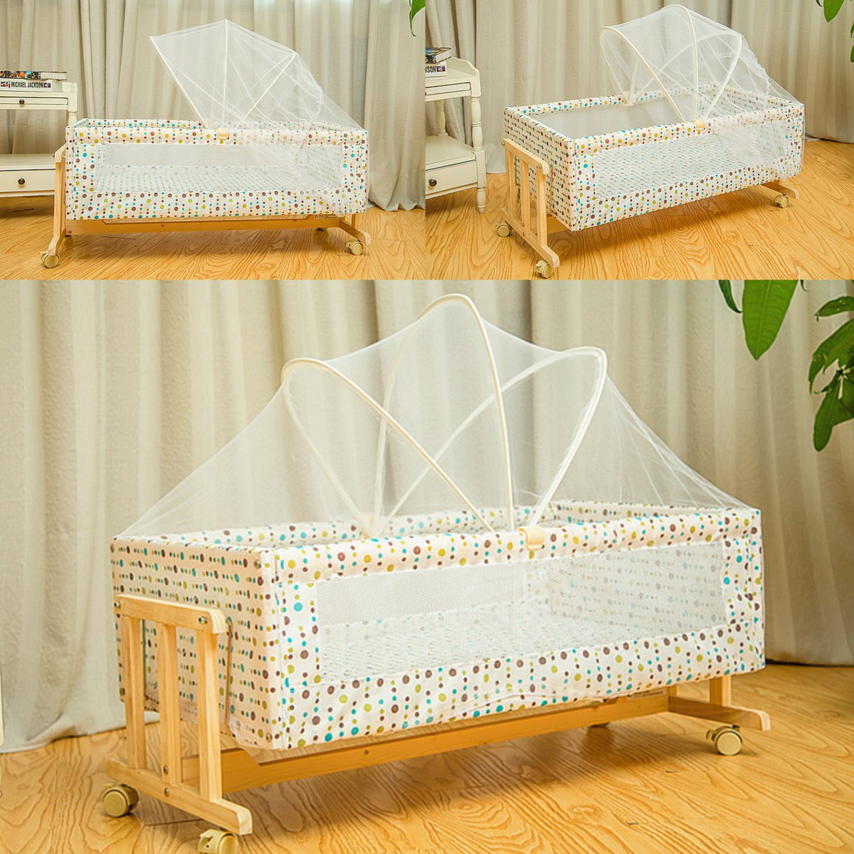 Portable Wooden Baby Cradle Folding Rocking Cribs Newborn Baby Cribs Bassinet 4 Wheels Nursery Bed Sleeper Furniture 90x48x41cm